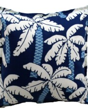 Blue Palm Trees Indoor Outdoor Cushion Bungalow Living