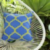 Blue Green Fretwork Indoor Outdoor Cushion Bungalow Living