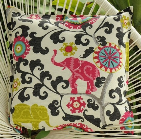Elephant Charcoal Indoor Outdoor Cushion Bungalow Living