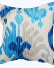 Sapphire and Silver Ikat Indoor Outdoor Cushion Bungalow Living Sapphire and Silver Ikat