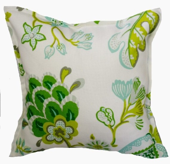 Seaglass and Silver Floral Indoor Outdoor Cushion Bungalow Living