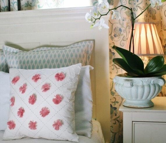 Pink Pom Pom Indoor Cushion Cover