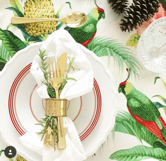 Parrots, Pineapples and Pink Hibiscus Table Runner Bungalow Living