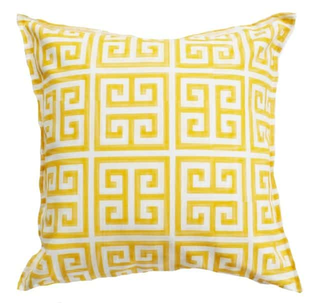 Yellow and White Greek Key Indoor Outdoor Cushion Cover Bungalow Living