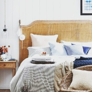 House and Garden Magazine have used our square Blue Ikat Spot Indoor Outdoor Cushion in this bedroom. Teamed with other cushions in neutral colours, various shapes and textures (velvet) adds to the relaxed coastal bedroom vibe created by the stylist.