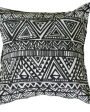 Black and White Totem Indoor Outdoor Cushion
