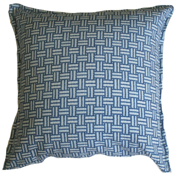 Blue Basket Weave Bungalow Living Outdoor Indoor Cushion Cover