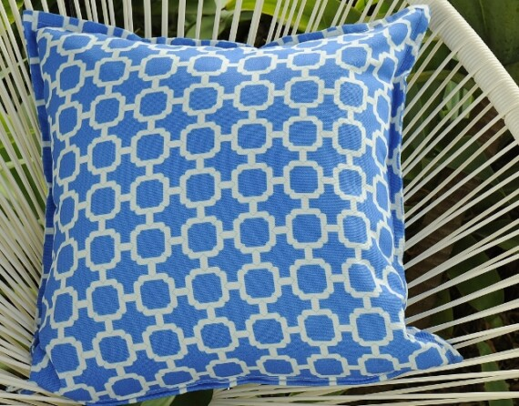 Blue and White Lattice Outdoor Cushion Bungalow Living