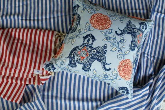 Blue Elephant Outdoor Bungalow Living Cushion Cover