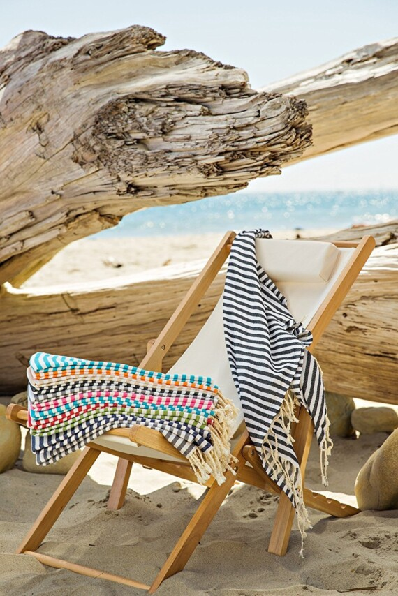 Turkish Towel Aqua & White Stripe Bungalow Living