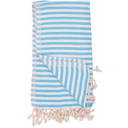 Aqua & White Stripe Turkish Towel Bungalow Living