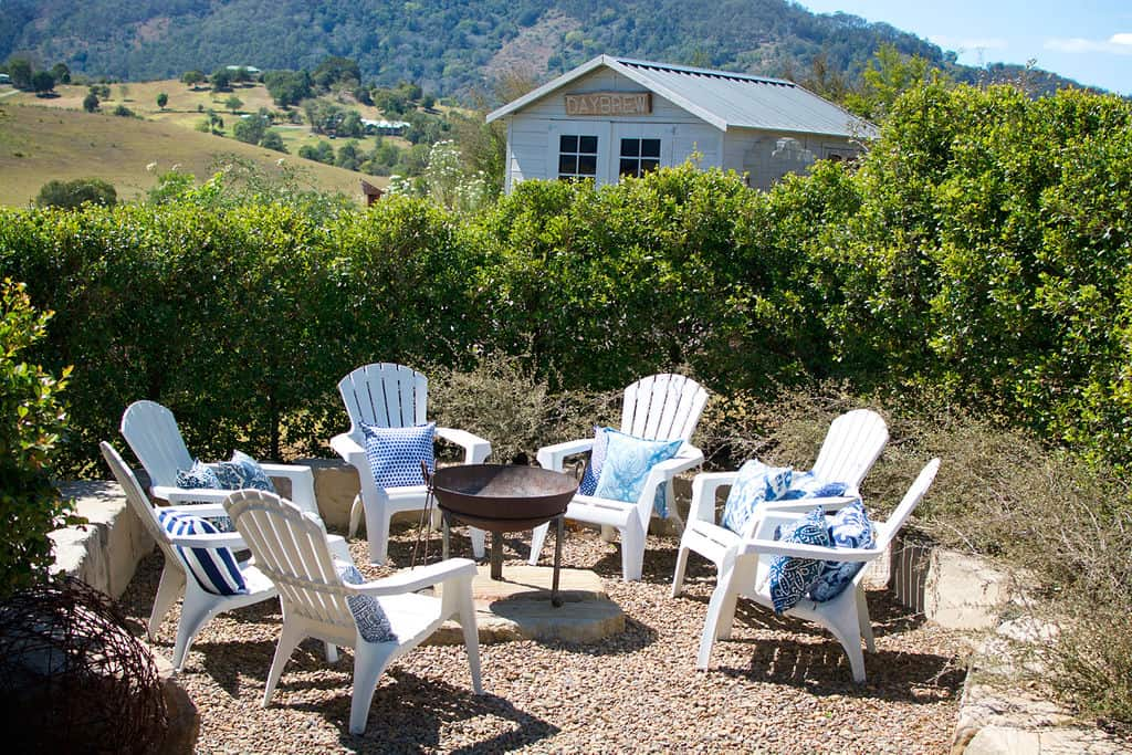 Winter Wonderland Fire Pit with Comfortable Chairs & Bungalow Living Cushions - Dayboro Queensland