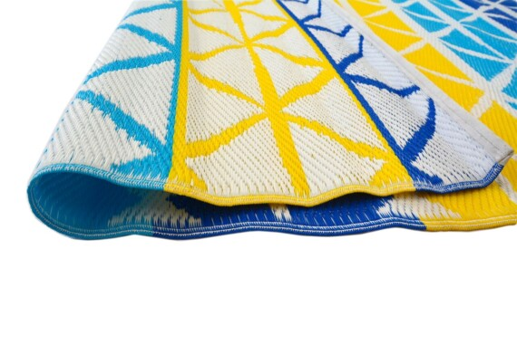 Beach Days Blue & Yellow Outdoor Mat 2