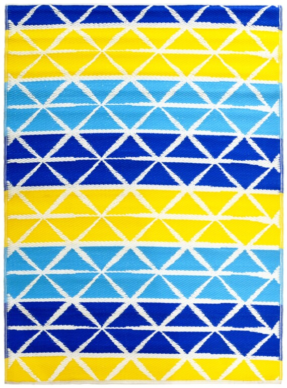 Beach Days Blue & Yellow Outdoor Mat
