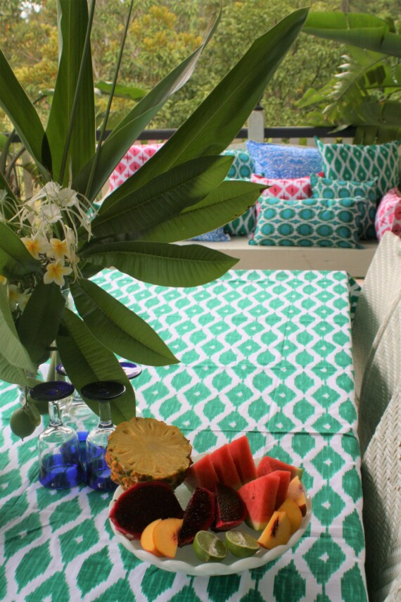 Green & White Ikat Hand Printed Tablecloth