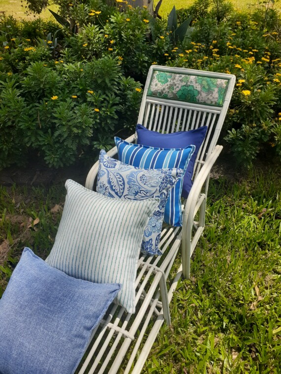 Blue And White Cushions Outdoor Bungalow Living