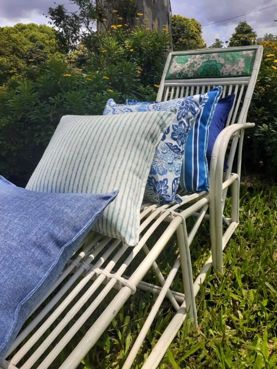 Bungalow Living Blue and White Outdoor Cushions