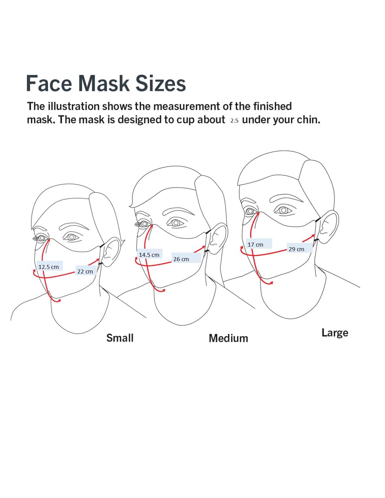 Triple Layer Water Resistant Reusable Face Mask Made in Australia by Bungalow Living Face Mask Sizes