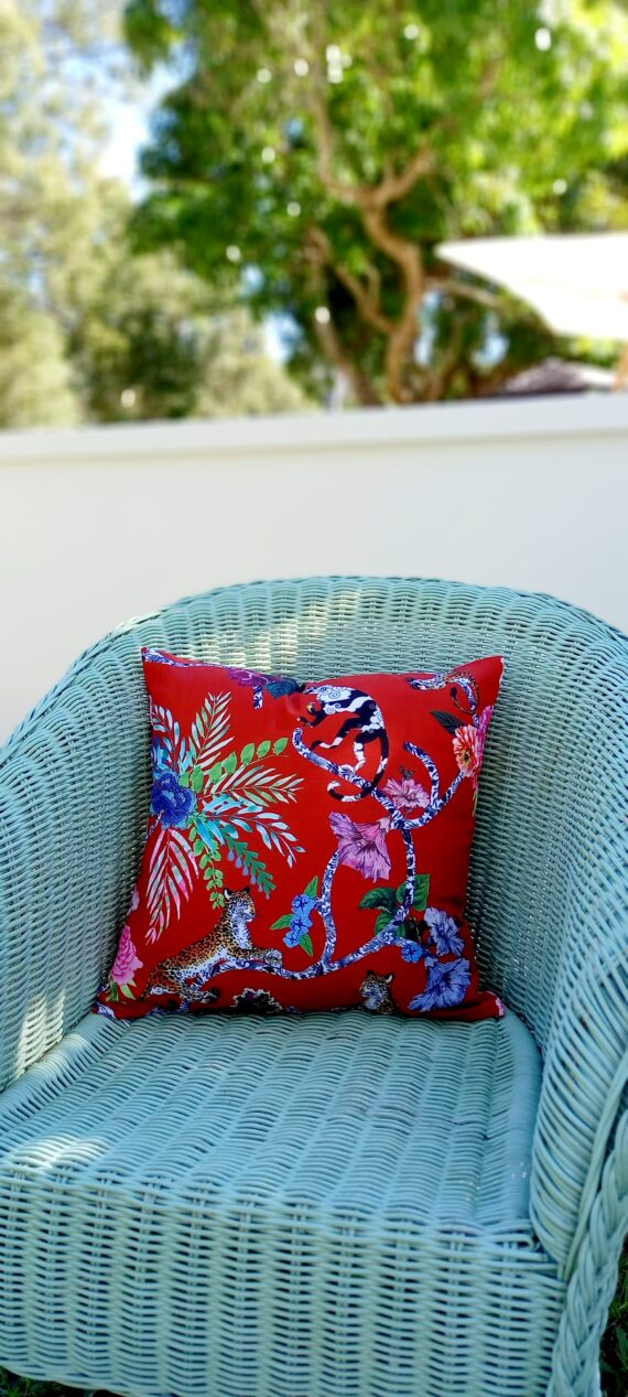 Chinoiserie Red Indoor Outdoor Cushion Bungalow Living Australia