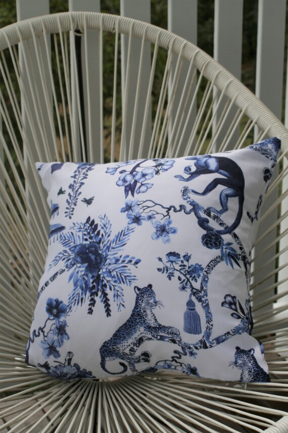 Blue And White Chinoiserie 42 CM Outdoor Cushion Bungalow Living Australia 1
