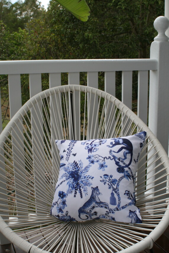 Blue And White Chinoiserie 42 CM Outdoor Cushion Bungalow Living Australia 2