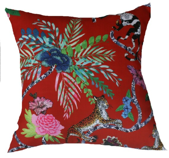 Red Chinoiserie Outdoor Cushion 42 CM Bungalow Living Australia 1