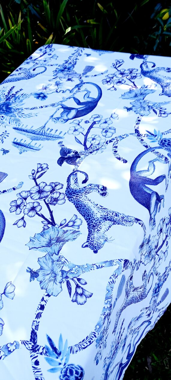 Blue And White China Garden Outdoor Tablecloth Bunaglow Living 4