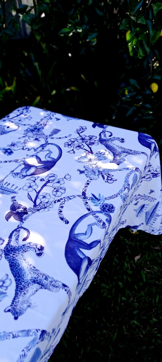 Blue And White China Garden Outdoor Tablecloth Bunaglow Living 7
